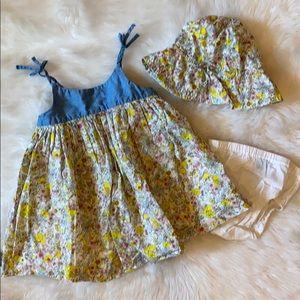 EUC 18-24m Gap Lemon Chambray Dress 3pc Set! 🍋